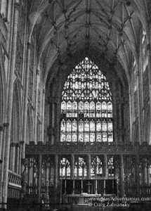 View of stained glass inside York Minster