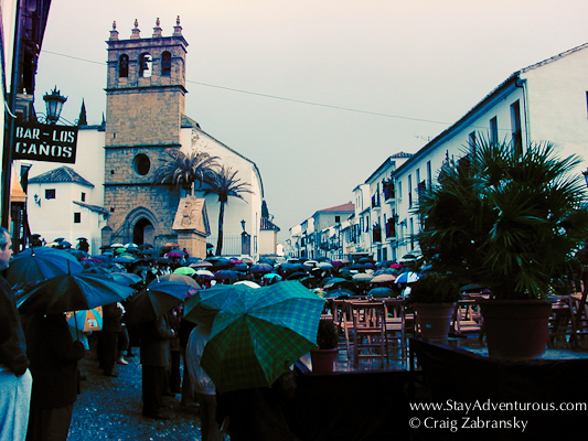 festival in the rain at Ronda, Spain