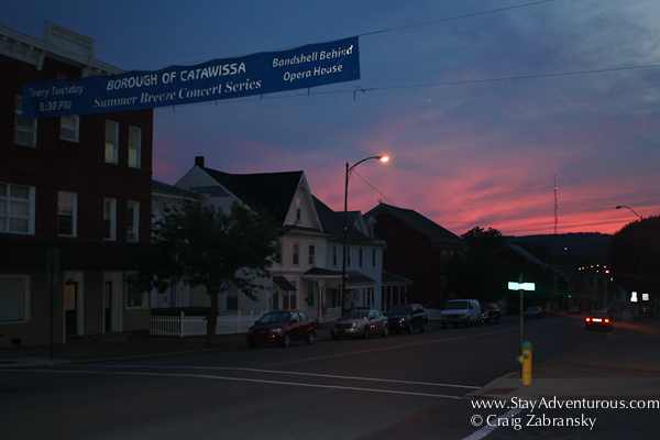 a summer sunset in Catawissa, Pennsylvania
