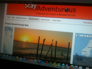 stay adventurous sunset map on screen