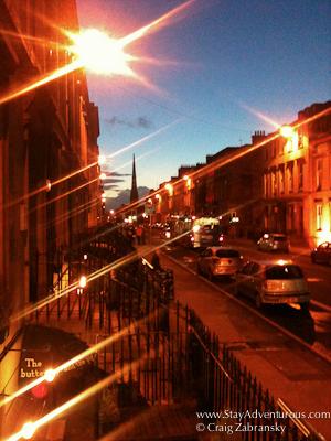 sunset in centre city glasgow scotland