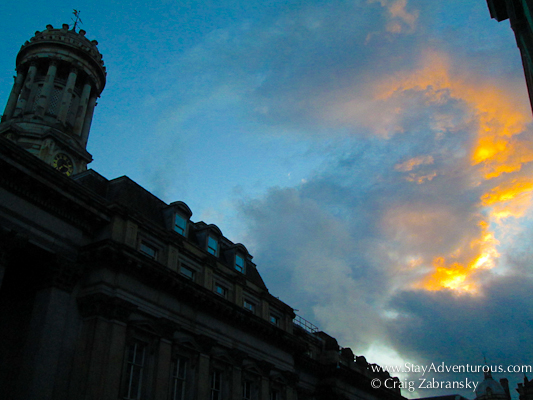 the sunset sky outside the GoMA in Glasgow Scotland