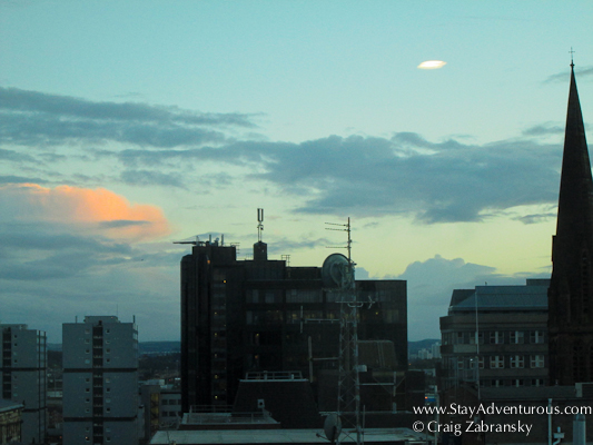 sunset view at the Hotel Novotel Centre in Glasgow Scotland