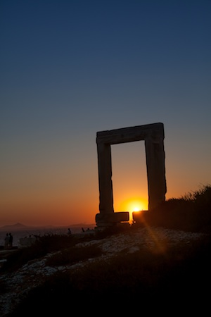 the Greek Island of Naxos at Sunset