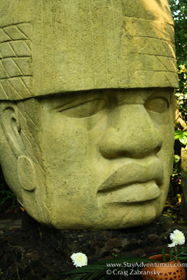 olmec giant head in nanciyaga, veracruz