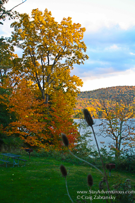 fall foliage on Glimmerglass Lake in New York