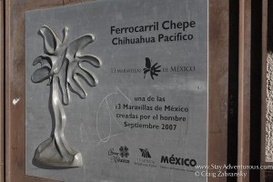 maravillas de mexico sign regarding the Chepe train through Copper Canyon