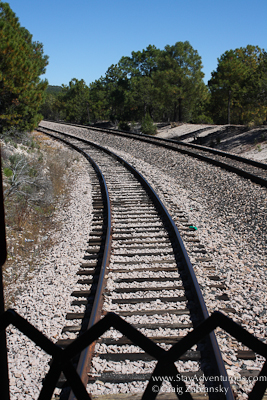 the tracks from the caboose of the Chepe train