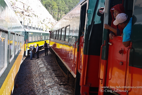 meeting the other train, and switching crew on the chepe in the copper canyon