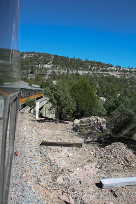 just crossed over a bridge on the Chepe Train through Copper Canyon