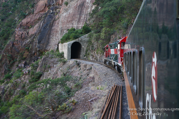 entering a tunnel on the Chepe train through Copper Canyon