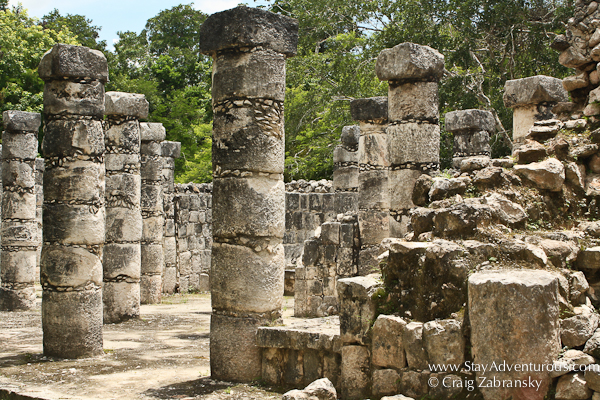 part of the 1,000 columns of the temple of the warrior at chichen itza in mexico