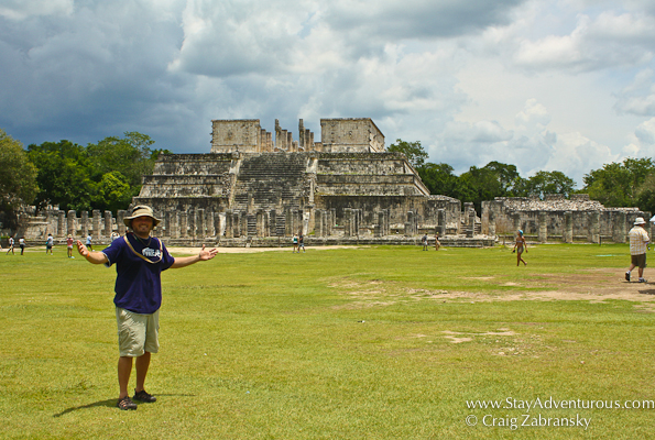 walking over to the temple of the warriors at Chichen itza