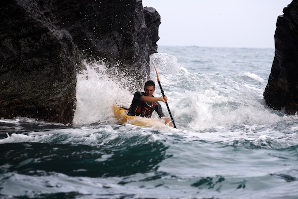 Abraham Levy in a Kayak on his adventure kayaking around Mexico