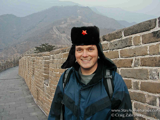 Wearing the Red Star of China at the Great Wall Standing at the Great Wall at Mutianyu
