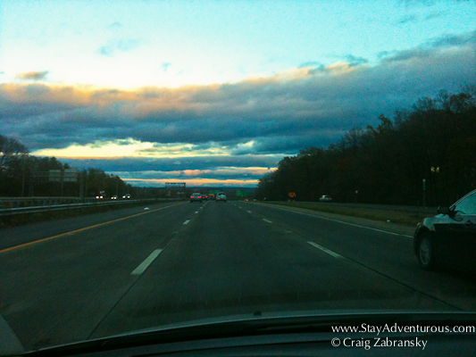 sunset on Interstate 80 and the road to New York City