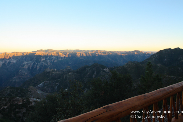 sunset at the copper canyon, view from the Posada Mirador Hotel in Chihuahua