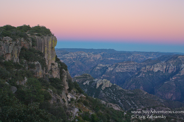the view of the sunset afterglow at the copper canyon, watched from the deck at the Posada Mirador Hotel