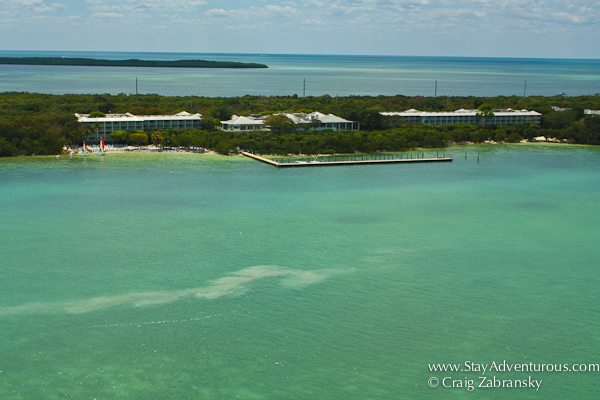 the view of the Hilton Key LArgo Resort from a parasail adventure from Caribbean Watersports
