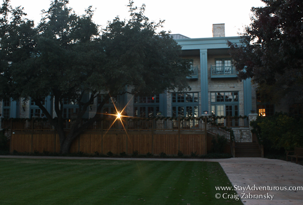 sunset through the main lobby at the Hyatt Regency Hill Country Resort and Spa in San Antonio, Texas