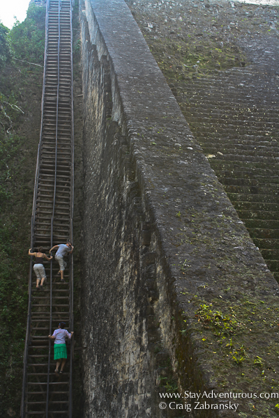 the hike up the wooden stairs at templo V at the Mayan Ruins of Tikal Guatemala