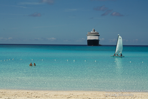 a view from half moon cay, a island in the bahamas owned by the cruise industry and Holland America