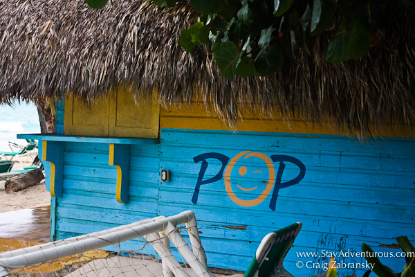 the POP hut on the beach, it is where the drink are served at the grand palladium in punta cana, DR