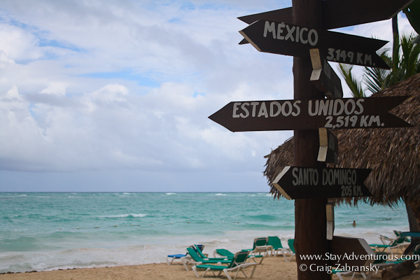 sign for distances and direction in Punta Cana, DR