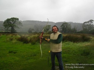 archery lessons on the island of arran in scotland in the rain