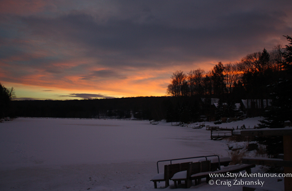 sunset on the lake in lake wallenpaupack, pennsylvania