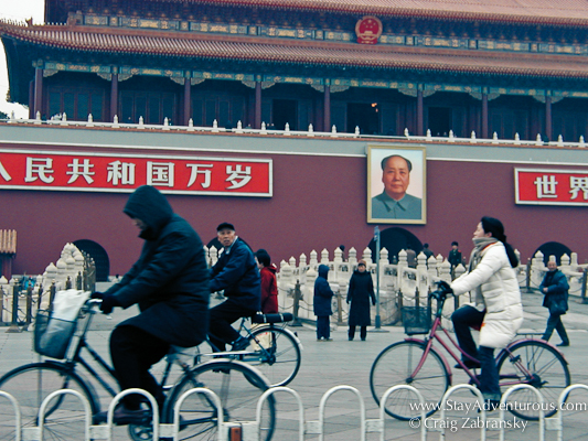 a commute through Beijing Tiananmen Square and the Forbidden City via a taxi.