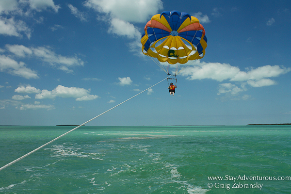 parasailing at the key largo hilton caribbean watersports in the upper florida keys