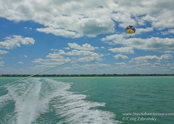 parasailing in the upper florida keys at caribbean watersports located in the Key Largo Hilton