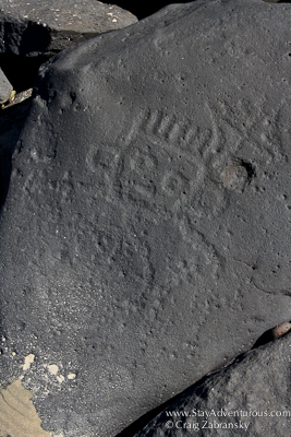 petroglyph or roack carving on the beaches of las labradas, mazatlan, mexico
