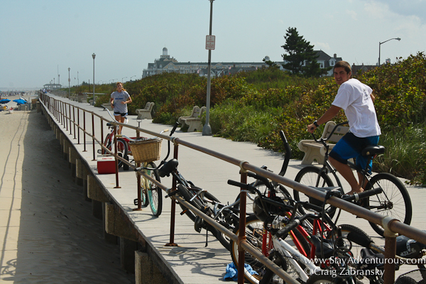 the boardwalk at the beach in spring lake, nj
