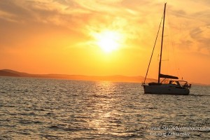 sunset in zadar croatia at sea