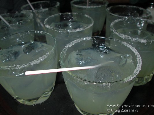 a tray of Margaritas from Club Kentucky, the birthplace of the Margarita in Ciudad Juarez, Mexico