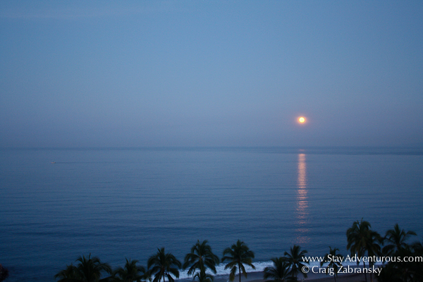 a moonset on the Bay of Banderas, Puerto Vallarta