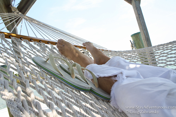 on a hammock at the Moorings in Islamorada, Florida Keys