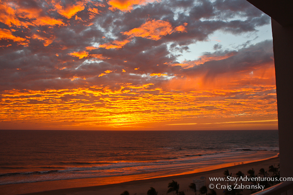 sunset from the 5th floor balcony at the RIU hotel in nuevo Mazatlan, Mexico