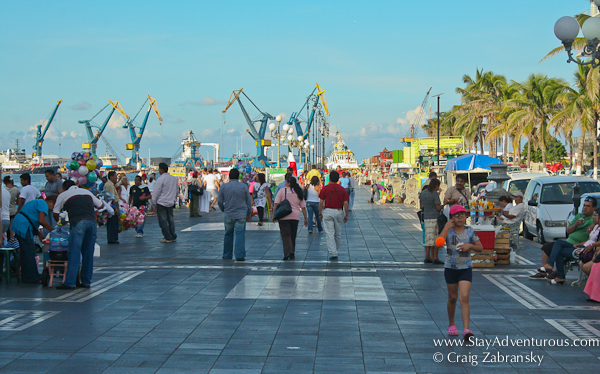walking along the port in Veracruz, Mexico