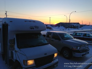 sunset image from seaport in Churchill, Manitoba Canada