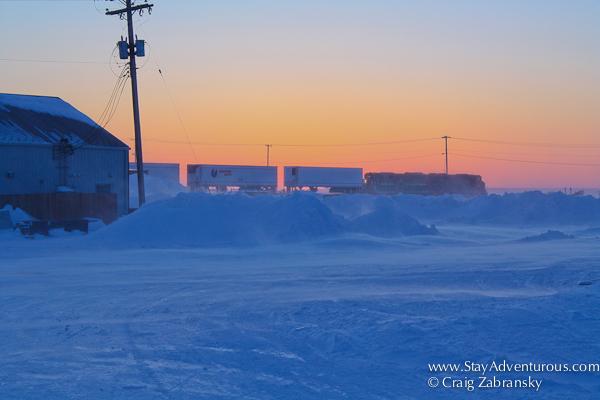 winter sunset image of the train in Churchill, Manitoba Canada