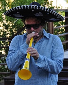 craig zabransky in a sombrero with a vuvuzela in the riviera maya, mexico