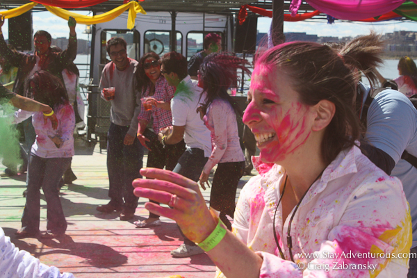 dancing at the Holi Festival created by InMedia in New York on the Hornblower's The Respect