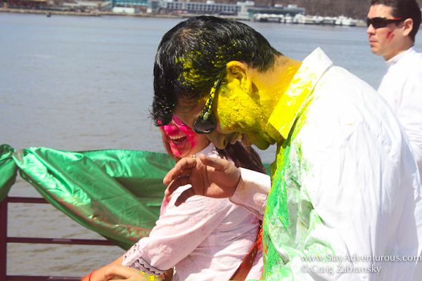 the colors begin at the Holi Festival created by InMedia in New York on the Hornblower's The Respect