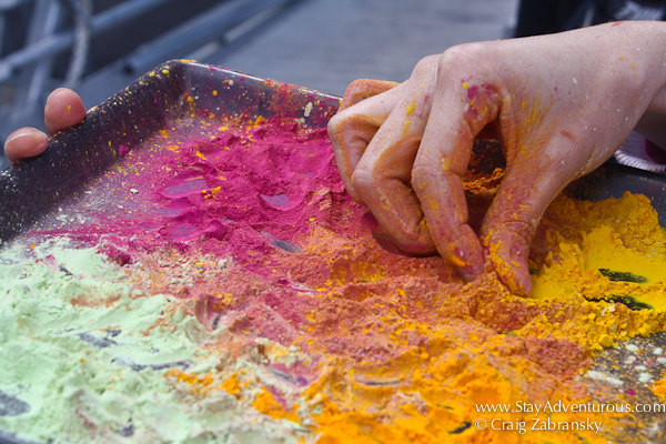some welcome to the festival holi color as you boarded the boat in NYC, happy Holi