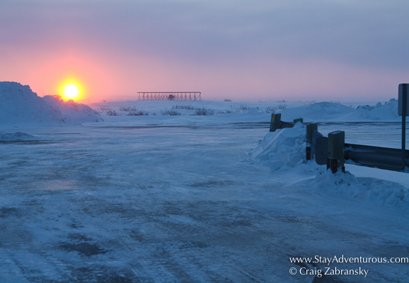 sunset at the churchill airport, yyq, in churchill, manitoba, canada