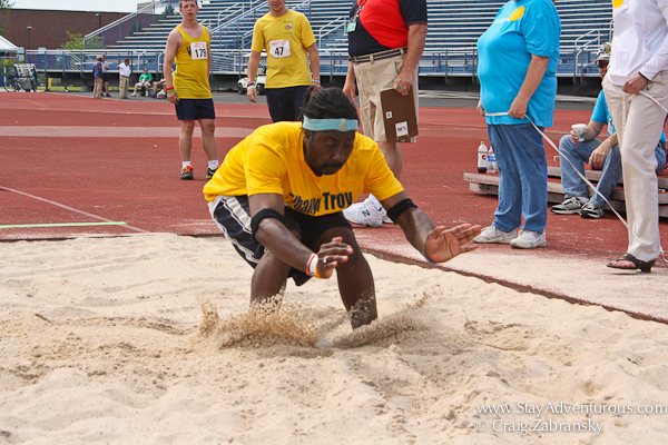 the long jump at the New York State Special Olympics in SUNY Buffalo