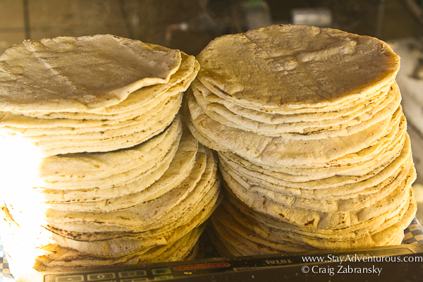 freshly made corn tortilla from Mexico